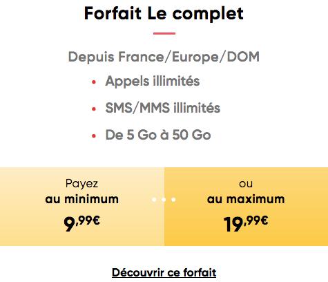 Forfait Le Complet de Prixtel abonnement modulable.