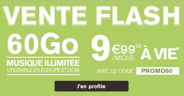 Vente flash et promotion font le bonheur des adhérents au forfait promo de La Poste Mobile avec 60 Go d'Internet en 4G.