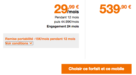 Orange propose la précommande de iPhone XR avec un forfait 4G.