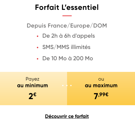 Prixtel et le forfait pas cher à 2€par mois.