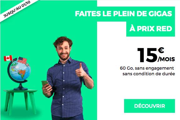 La promo sur le forfait RED by SFR international