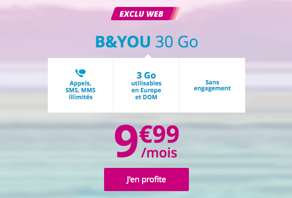 Promotion forfait mobile B&YOU 30 Go.