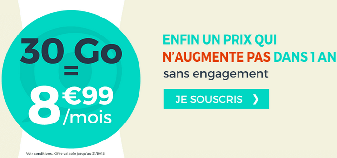 Cdiscount Mobile promotion forfait 30 Go 4G.
