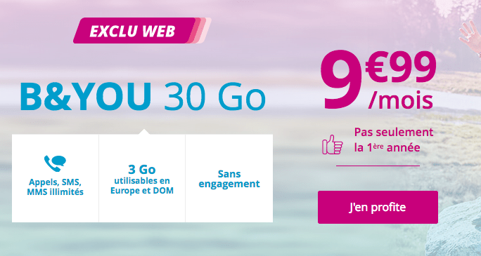 Promotion forfait mobile 30 Go B&YOU.