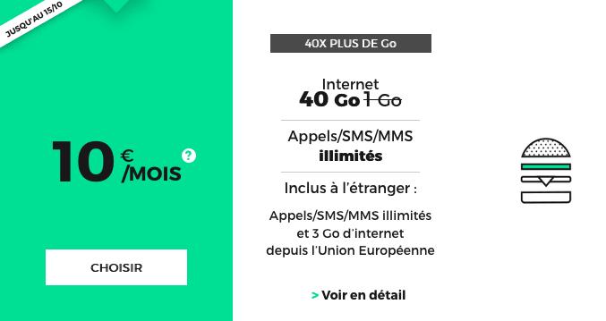 Forfait mobile RED by SFR sans engagement promotion valable à vie.