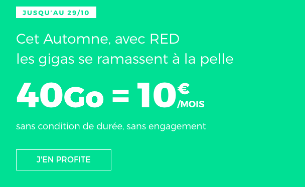 Le forfait mobile RED by SFR 40 Go promotion.