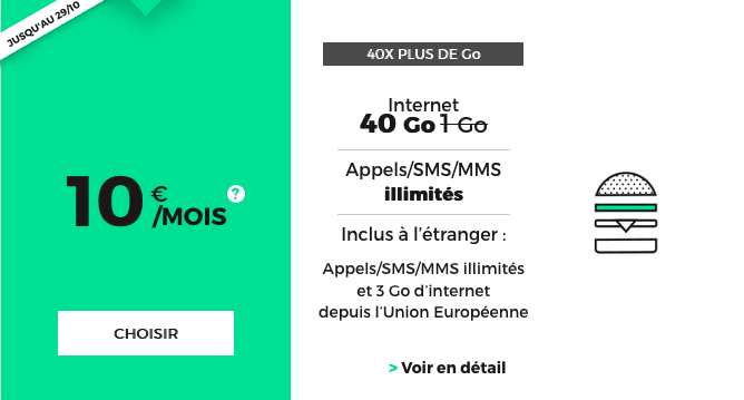 Promotion valable à vie chez RED by SFR sur un forfait mobile 40 Go 4G.