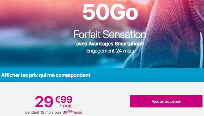 Promtoin forfait mobile Sensation 50 Go Bouygues Telecom.