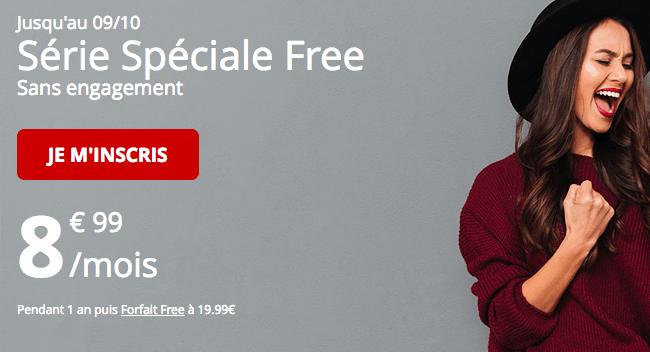 Série spéciale Free prolongé 60 Go 4G pour 8,99€.