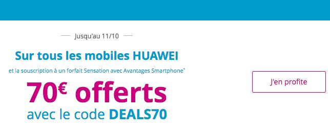 70€ réduction sur smartphone huawei avec forfait sensation Bouygues Telecom.