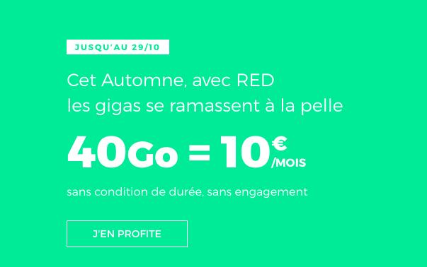 Le forfait RED 40 Go à 10€.