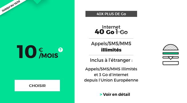 40 Go de 4G pour 10€/mois chez RED by SFR.