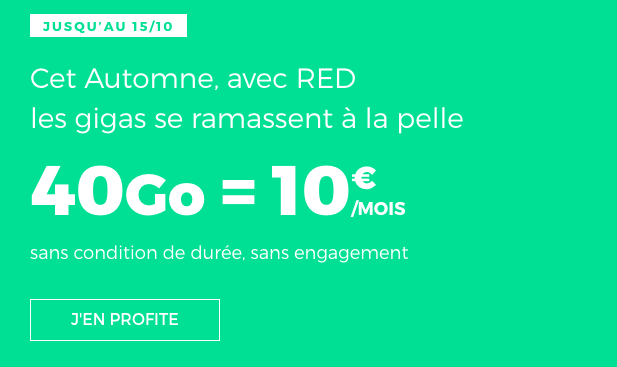 Promotion forfait mobile red by sfr riche en 4G.