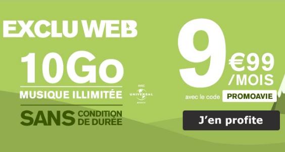 La promo à vie de La Poste Mobile pour un forfait sans engagement avec 10 Go d'Internet 4G.