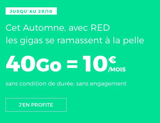Forfait sans engagement pas cher de RED by SFR avec 40 Go de 4G.