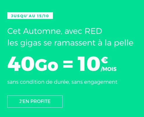 Un forfait illimité doté de 40 Go en 4G à bas prix chez RED by SFR.