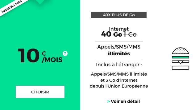 Promotion de RED by SFR sur le forfait mobile 40 Go.