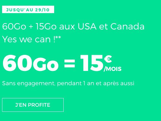 Un forfait pas cher sans engagement avec 60 Go de 4G chez RED by SFR.