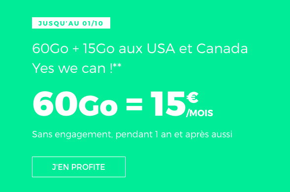 RED by SFR propose un forfait international 60 Go en promo