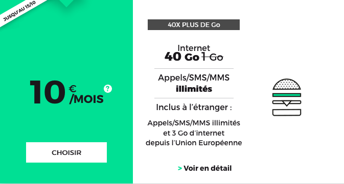 Forfait RED by SFR 40 Go de 4G pas cher.