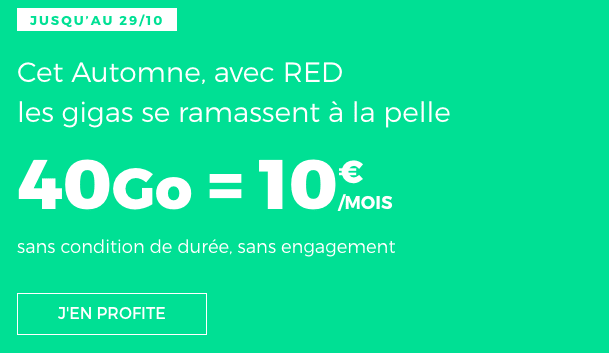 Promotion forfait mobile RED by SFR 40 Go 4G.