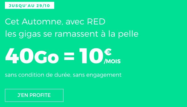 Promotion chez RED by SFR sur forfait mobile 4G pas cher.