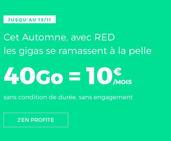 10€, c'est le prix à payer pour ce forfait pas cher de RED by SFR avec 40 Go d'Internet en 4G.