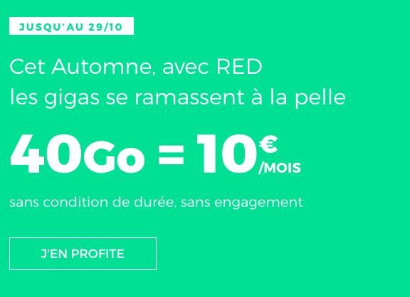 10€ pour ce forfait pas cher de RED by SFR avec 40 Go d'Internet 4G.