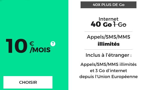 Un forfait mobile pas cher avec 40 Go d'Internet en 4G pour 10€ par mois.
