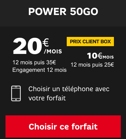 Le forfait illimité Power avec 50 Go d'Internet en 4G, en promotion chez SFR.