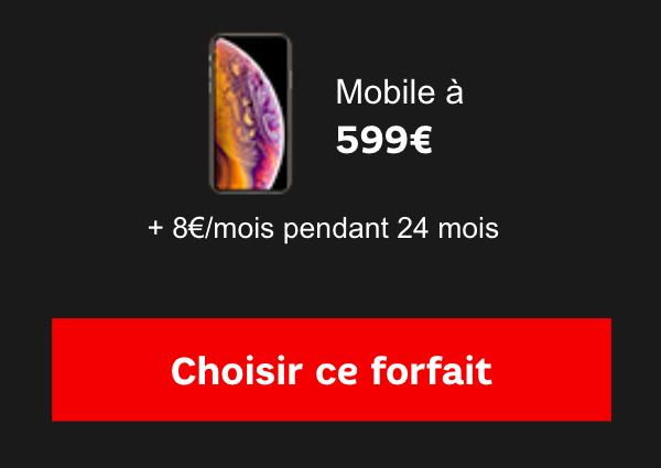 L'iPhone XS avec un forfait SFR.