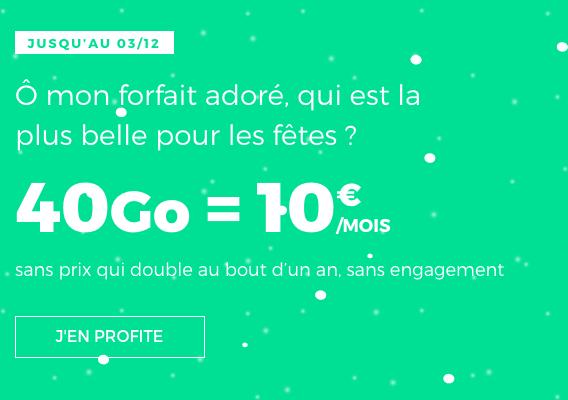 Forfait pas cher pour Noel et Black Friday avec RED by SFR : 40 Go de 4G.