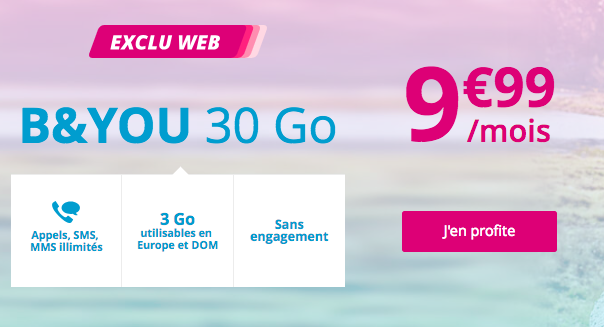 B&YOU 30 Go à 9,99€.