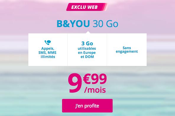 Le forfait B&YOU 30 Go à 9,99€.