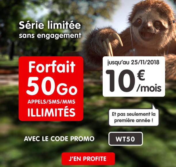 Le forfait mobile 50 Go de NRJ Mobile.