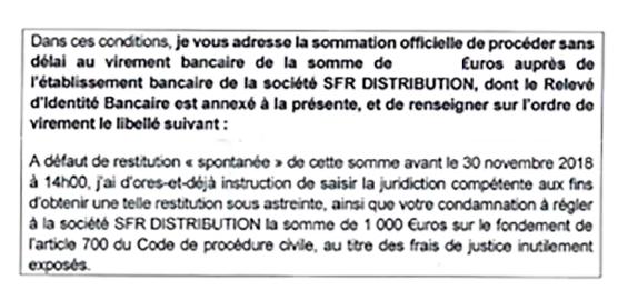 Extrait de la lettre de sommation de paiement de SFR.