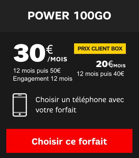 Le forfait Power 100 Go de SFR.
