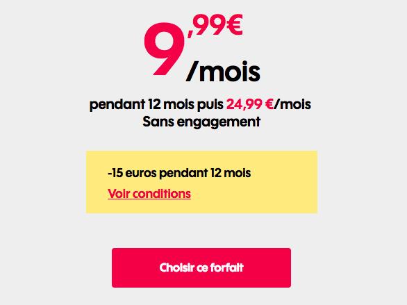 Le forfait Sosh à 9,99€ par mois.