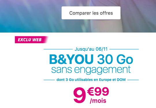 B&YOU forfait 30 Go à 9,99€.