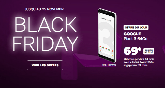 Google Pixel 3 pas cher SFR Black Friday.