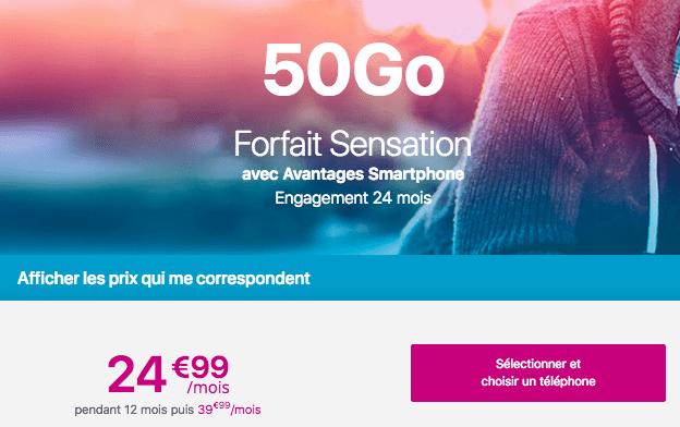 Forfait mobile Sensation 50 go avec avantage smartphone.