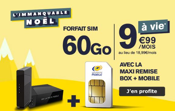 Un forfait en promo avec 60 Go de 4G pour moins de 10€ chez La Poste Mobile avec une box internet.