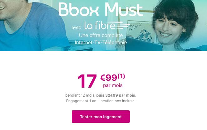 Promotion box internet BBox Must avec la fibre optique chez Bouygues Telecom.