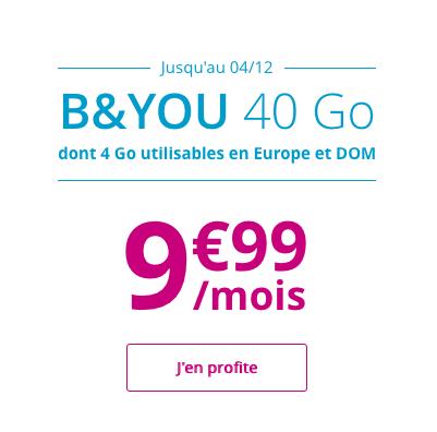 40 Go d'Internet avec le forfait 4G de B&YOU.