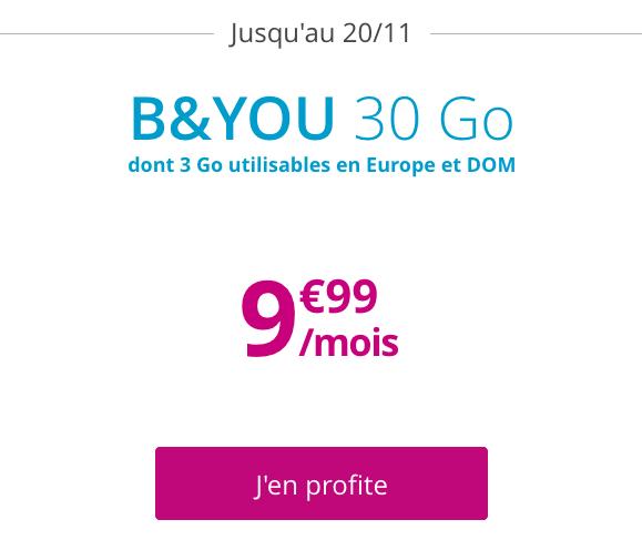 Forfait pas cher avec 30 Go de 4G chez B&YOU.