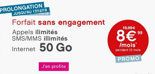 Promotion sur un forfait 4G avec 50 Go d'Internet.