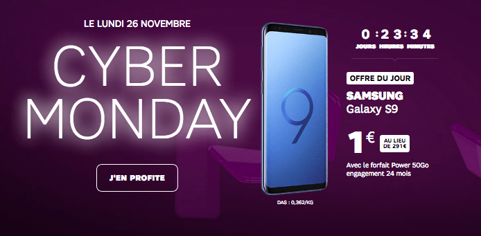 SFR promotion cyber monday samsung galaxy S9 avec forfait Power 50 Go.