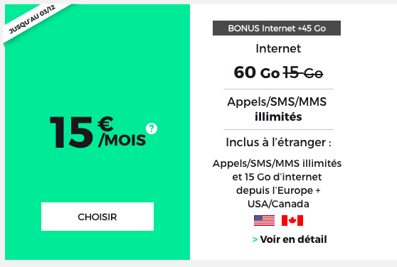 Le forfait 4G RED 60 Go.
