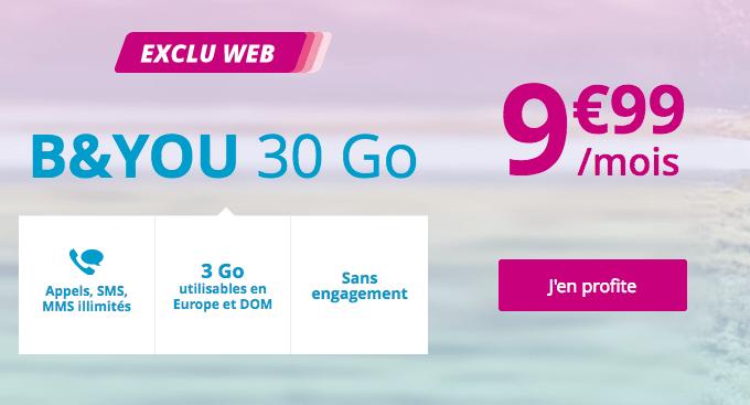 30 Go de 4G pas cher chez Bouygues Telecom dans ce forfait mobile.