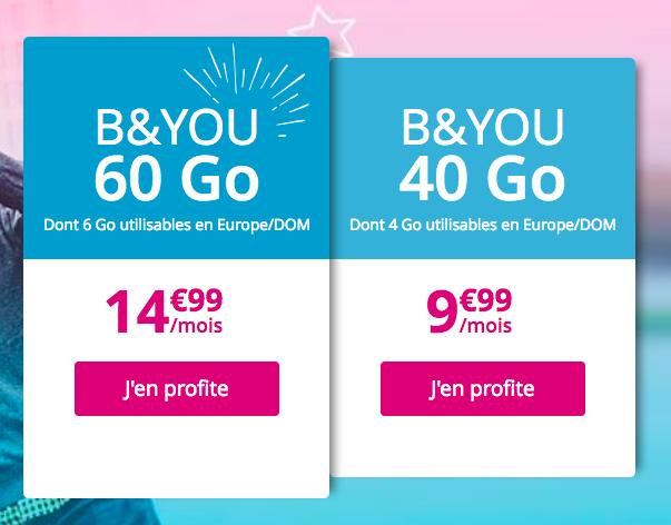 Les forfaits 4G de B&YOU.